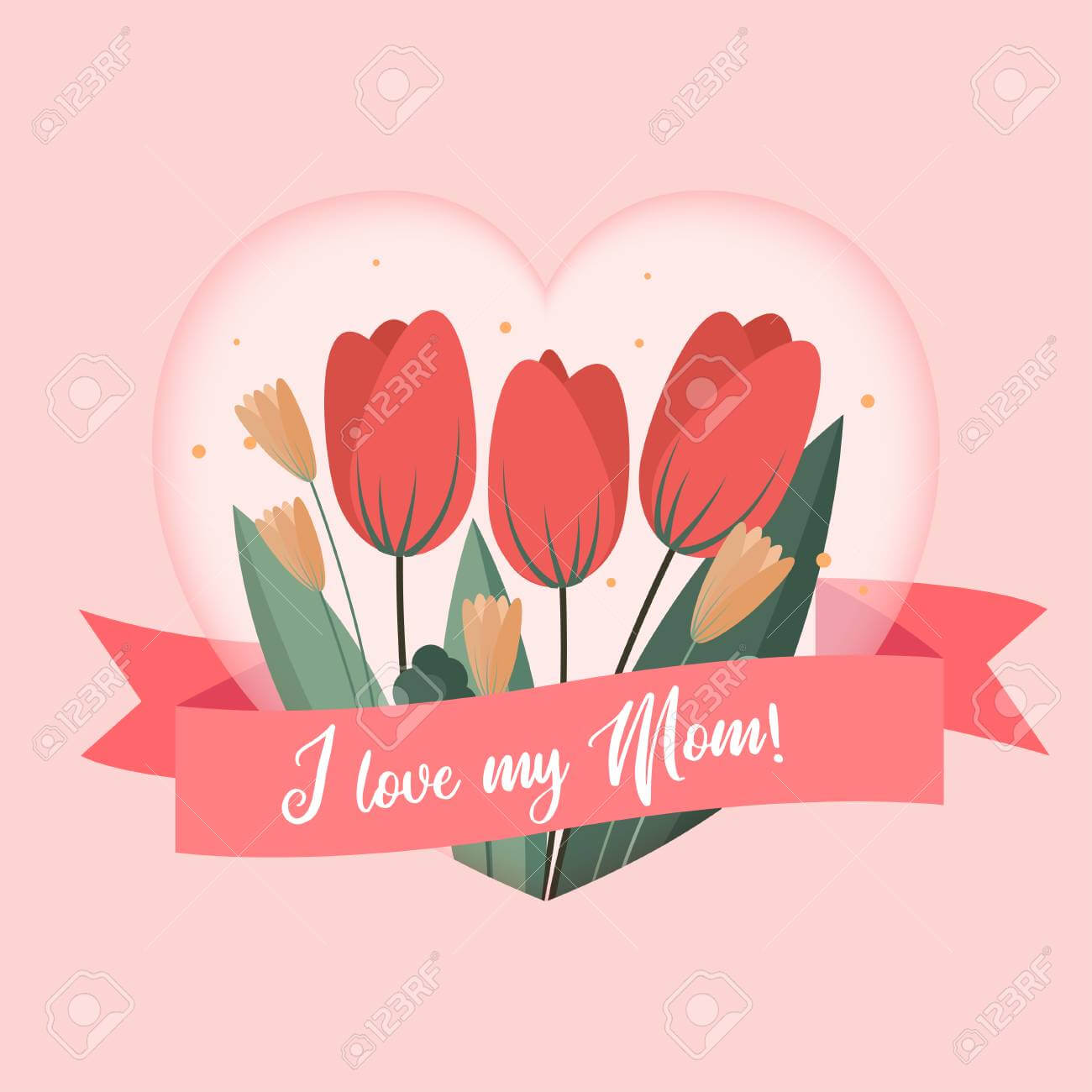 I Love My Mom Greetings Card Template. Background Design To Mothers.. pertaining to Mom Birthday Card Template