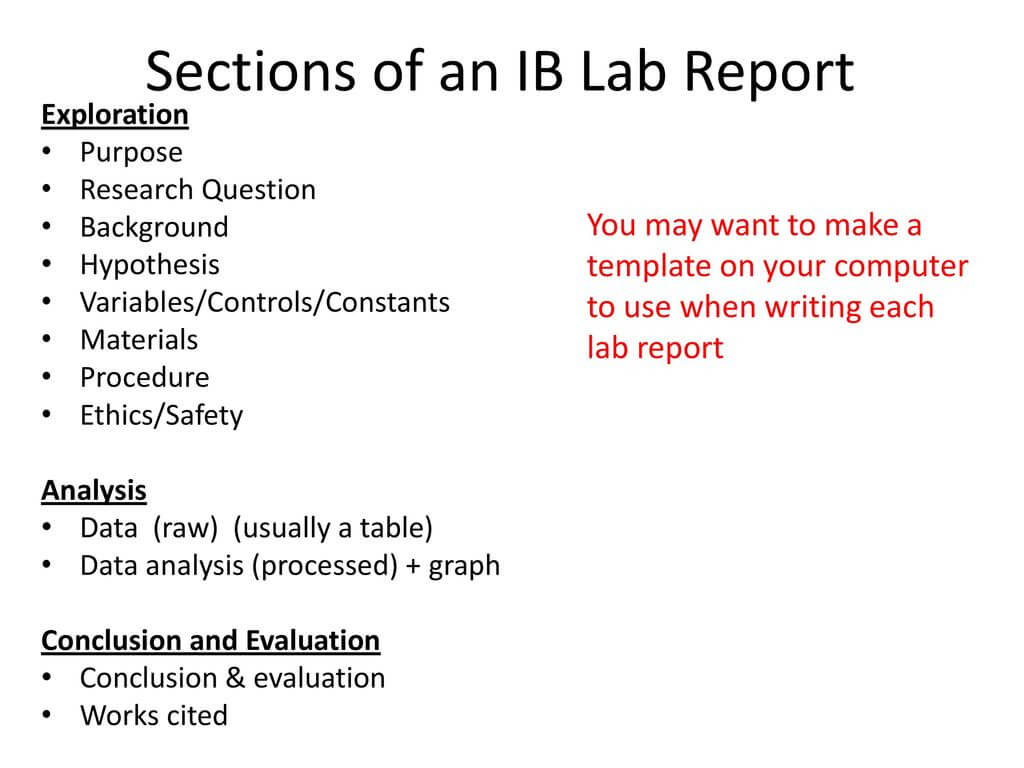 Ib Biology Lab Report Guidelines - Ppt Download regarding Ib Lab Report Template