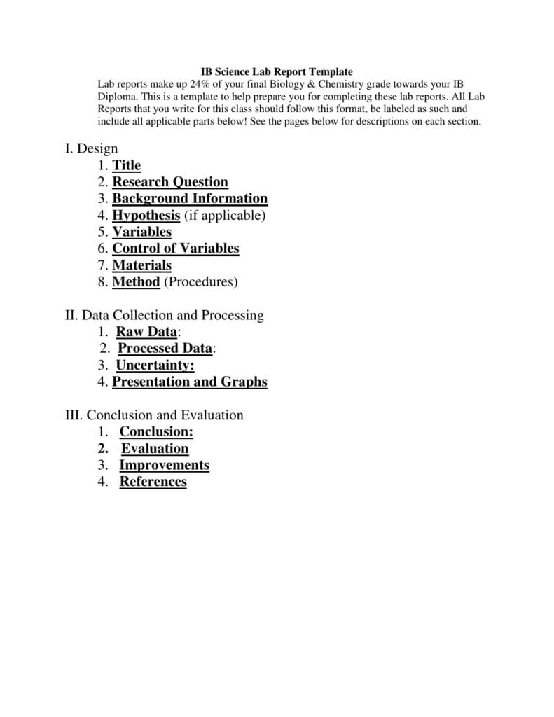 Ib Biology Lab Report Template Throughout Ib Lab Report Template