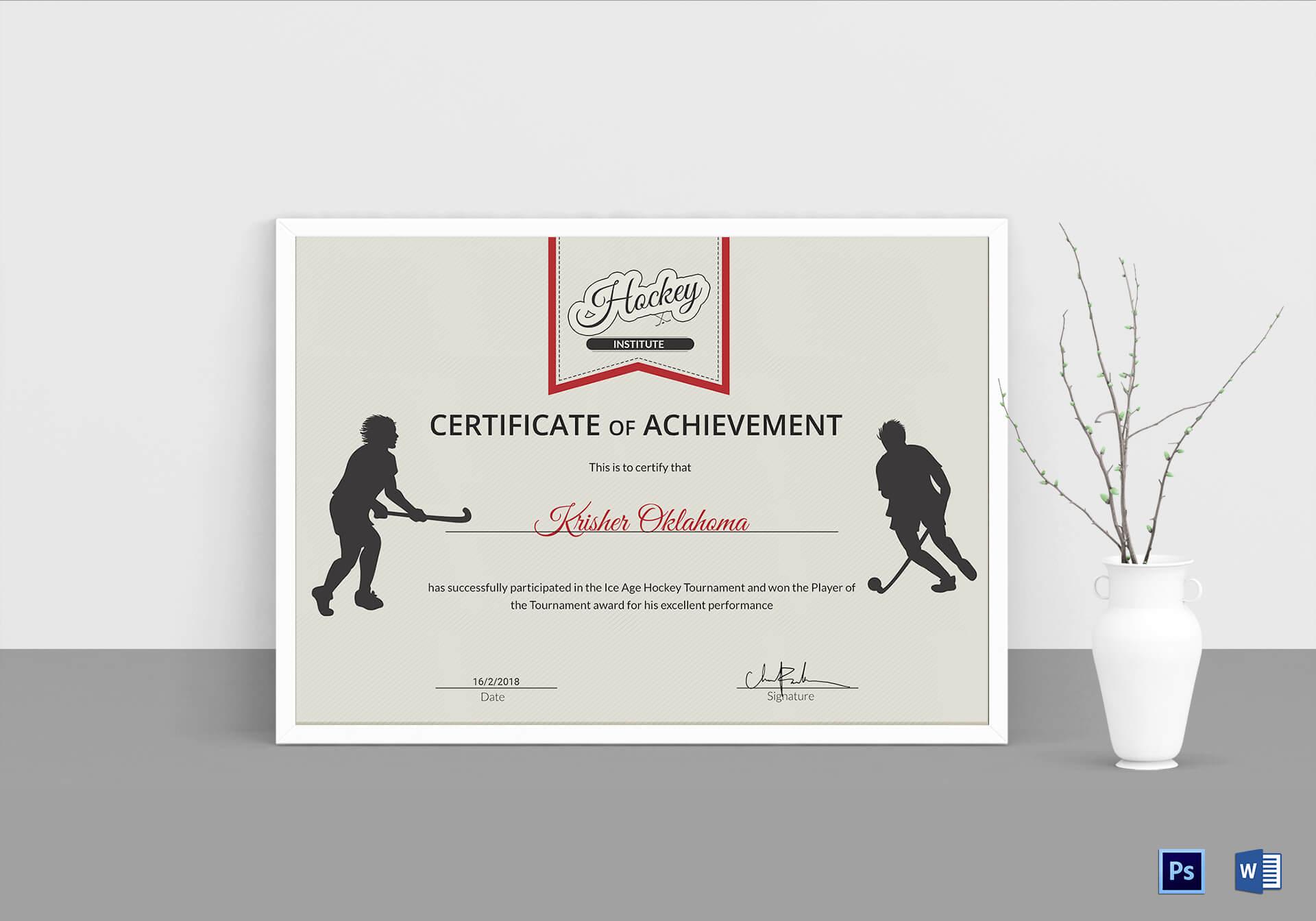 Ice Hockey Achievement Certificate Template in Hockey Certificate Templates