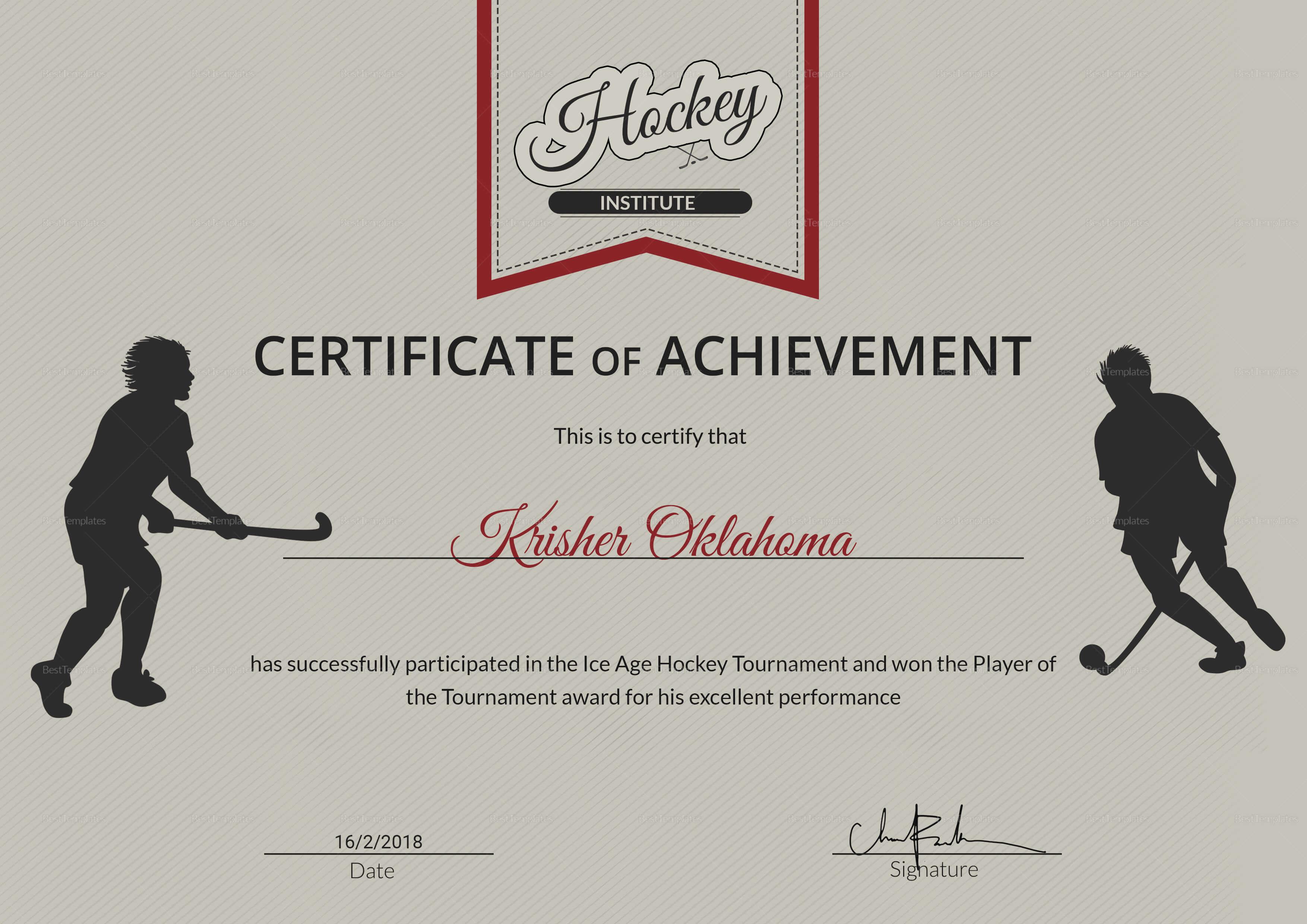 Ice Hockey Achievement Certificate Template throughout Hockey Certificate Templates