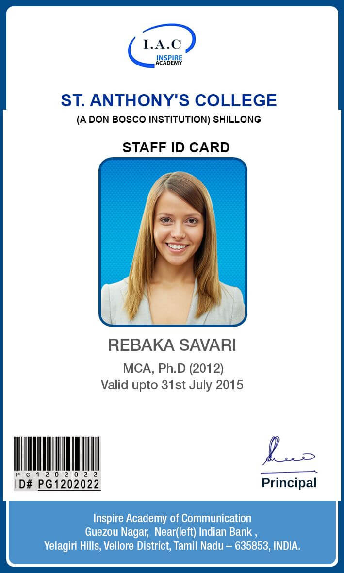 Id Card Designs | Identity Card Design, Id Card Template inside Teacher Id Card Template