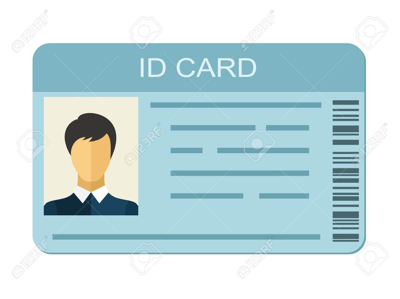 Id Card Isolated On White Background. Identification Card Icon Intended For Personal Identification Card Template