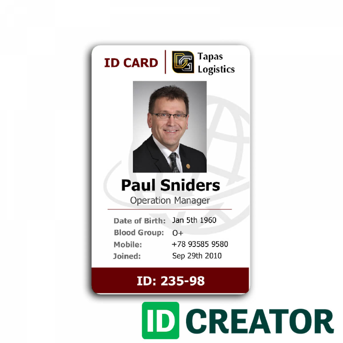 Id Card Template Recent Visualize 1 Front Of Id Employee 232 Inside Employee Card Template Word