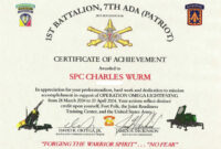 Ideas Collection For Certificate Of Achievement Army for Certificate Of Achievement Army Template