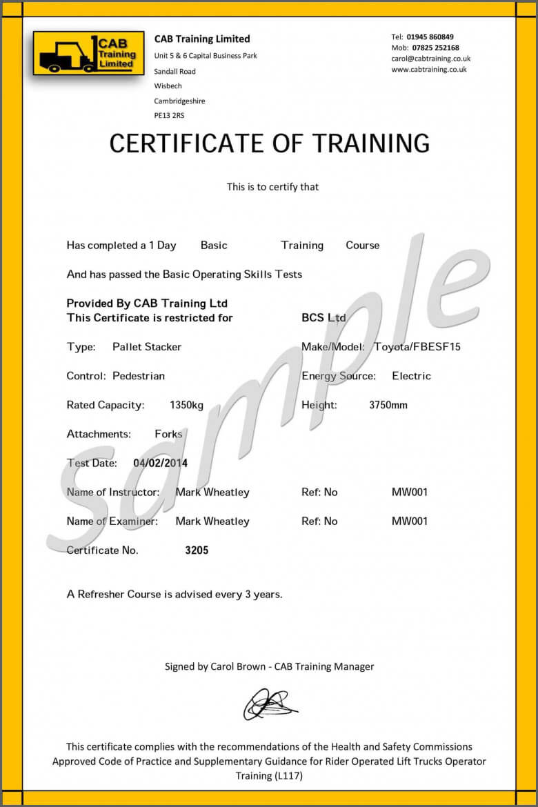 Ideas For Forklift Certification Template About Cover Letter throughout Forklift Certification Template
