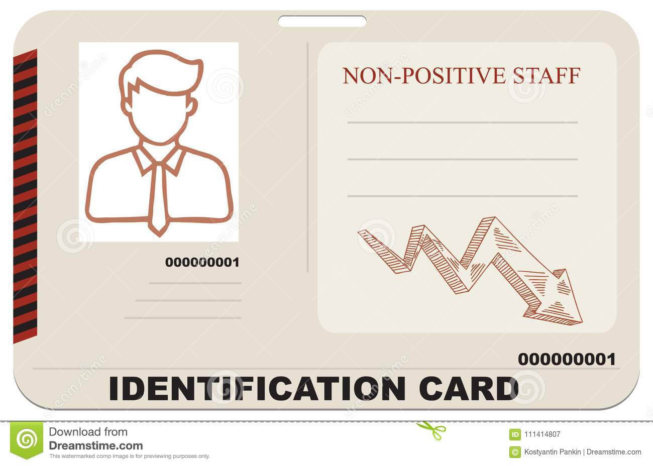 Identification Card For Non-Positive Staff Stock Vector pertaining to Mi6 Id Card Template