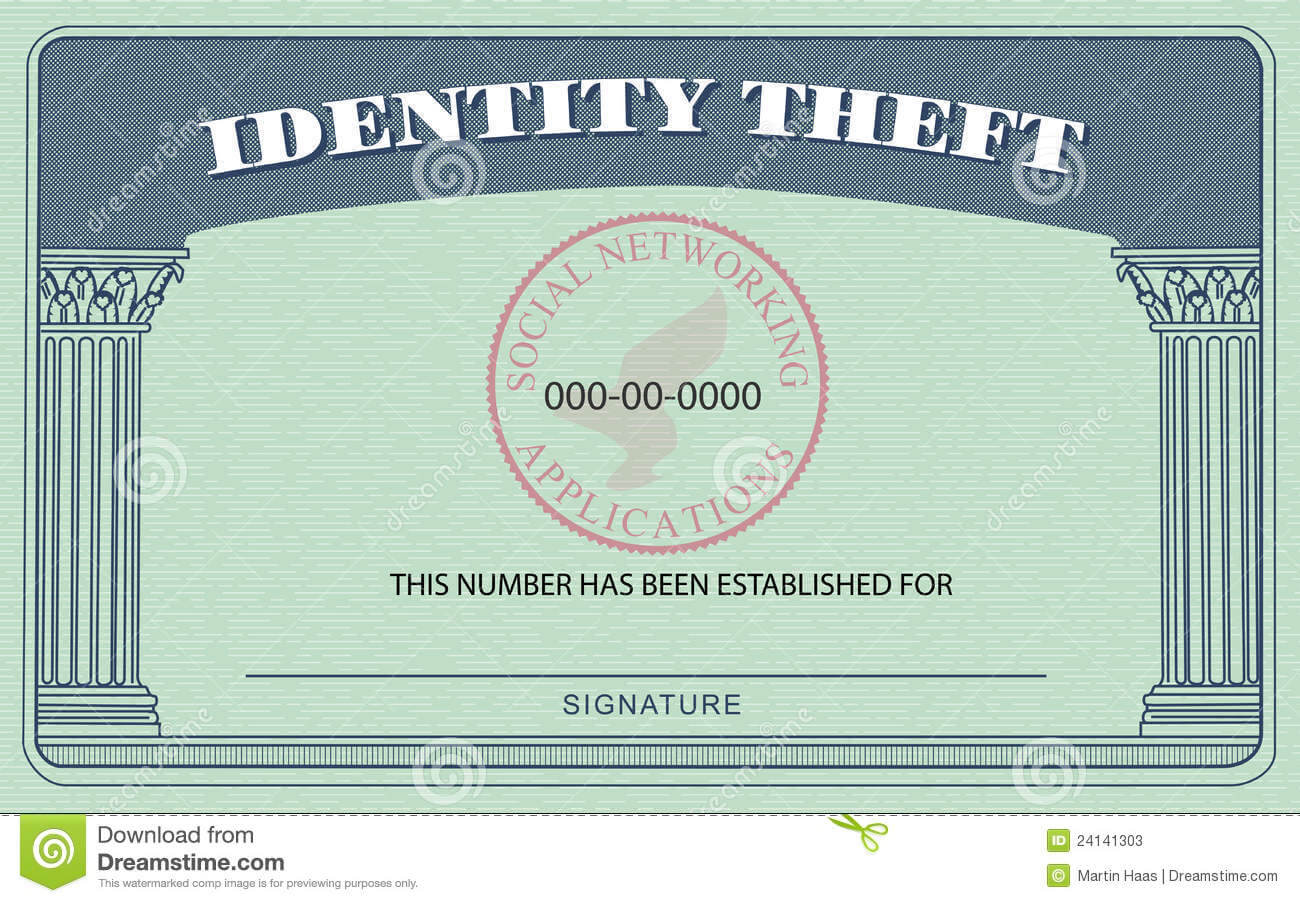Identity Theft Card Stock Illustration. Illustration Of pertaining to Editable Social Security Card Template