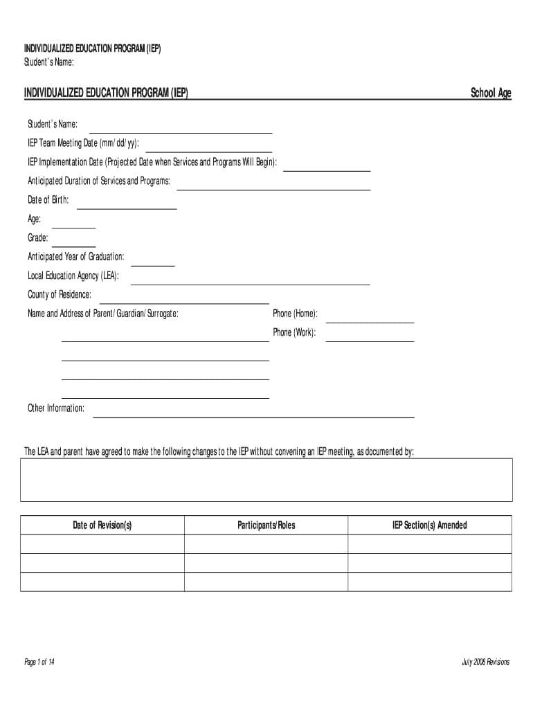 Iep Template - Fill Online, Printable, Fillable, Blank Inside Blank Iep Template