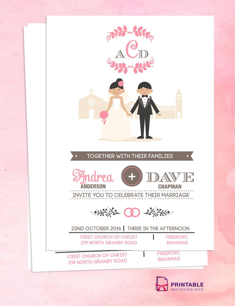 Illustrated Couple In Front Of Church Wedding Invitation In Church Wedding Invitation Card Template