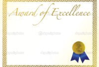 Illustration Of A Certificate. Award Of Excellence With intended for Award Of Excellence Certificate Template