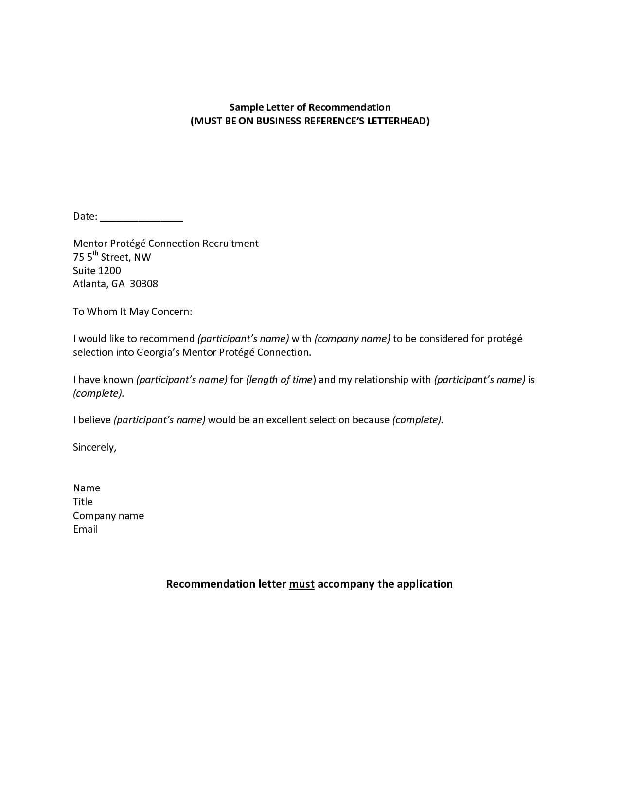 Impressive Letter Of Recommendation Templates Word Template regarding Business Reference Template Word