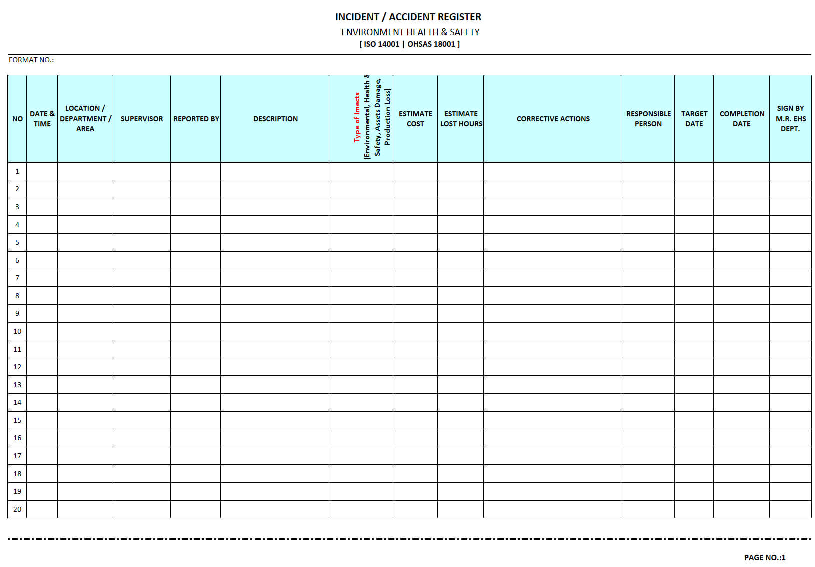 Incident / Accident Register - With Regard To Incident Report Register Template