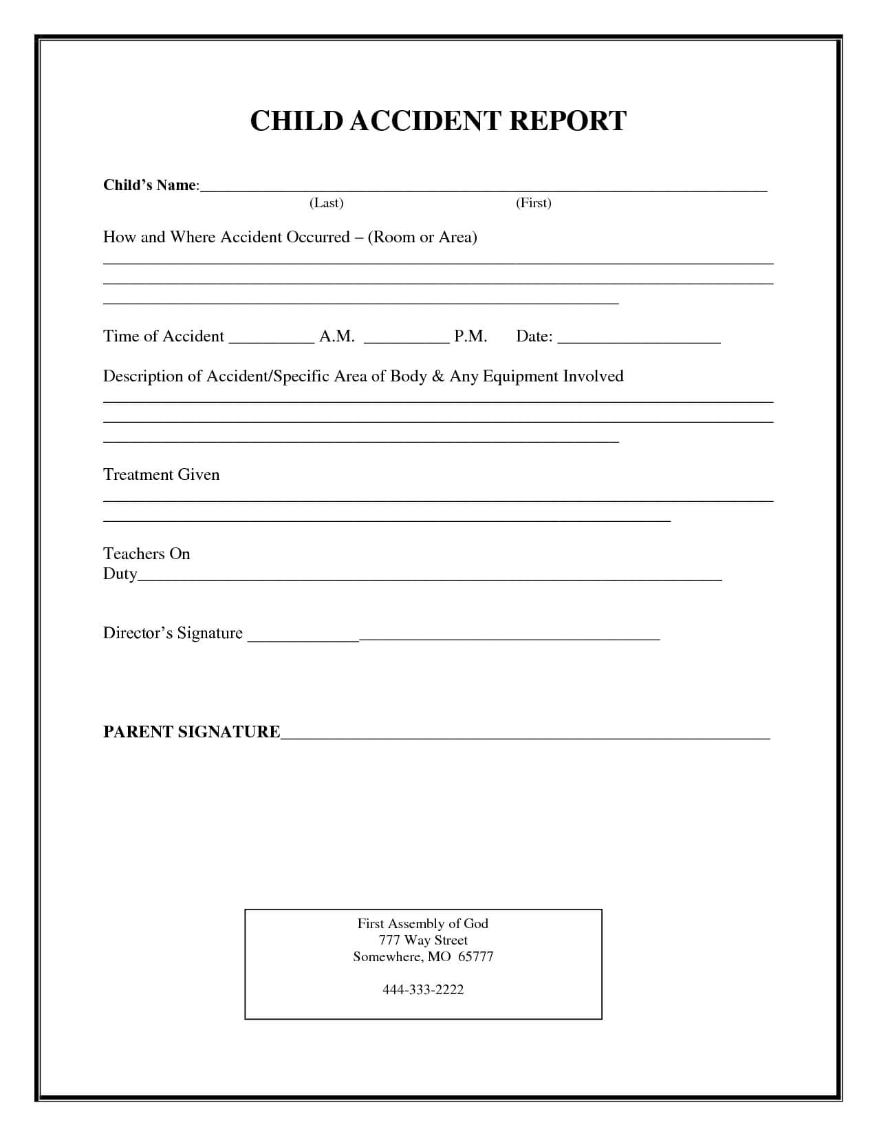 Incident Report Form Child Care | Child Accident Report Within Incident Report Book Template