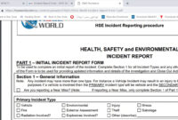 Incident Report Form – Hsse World with Hse Report Template