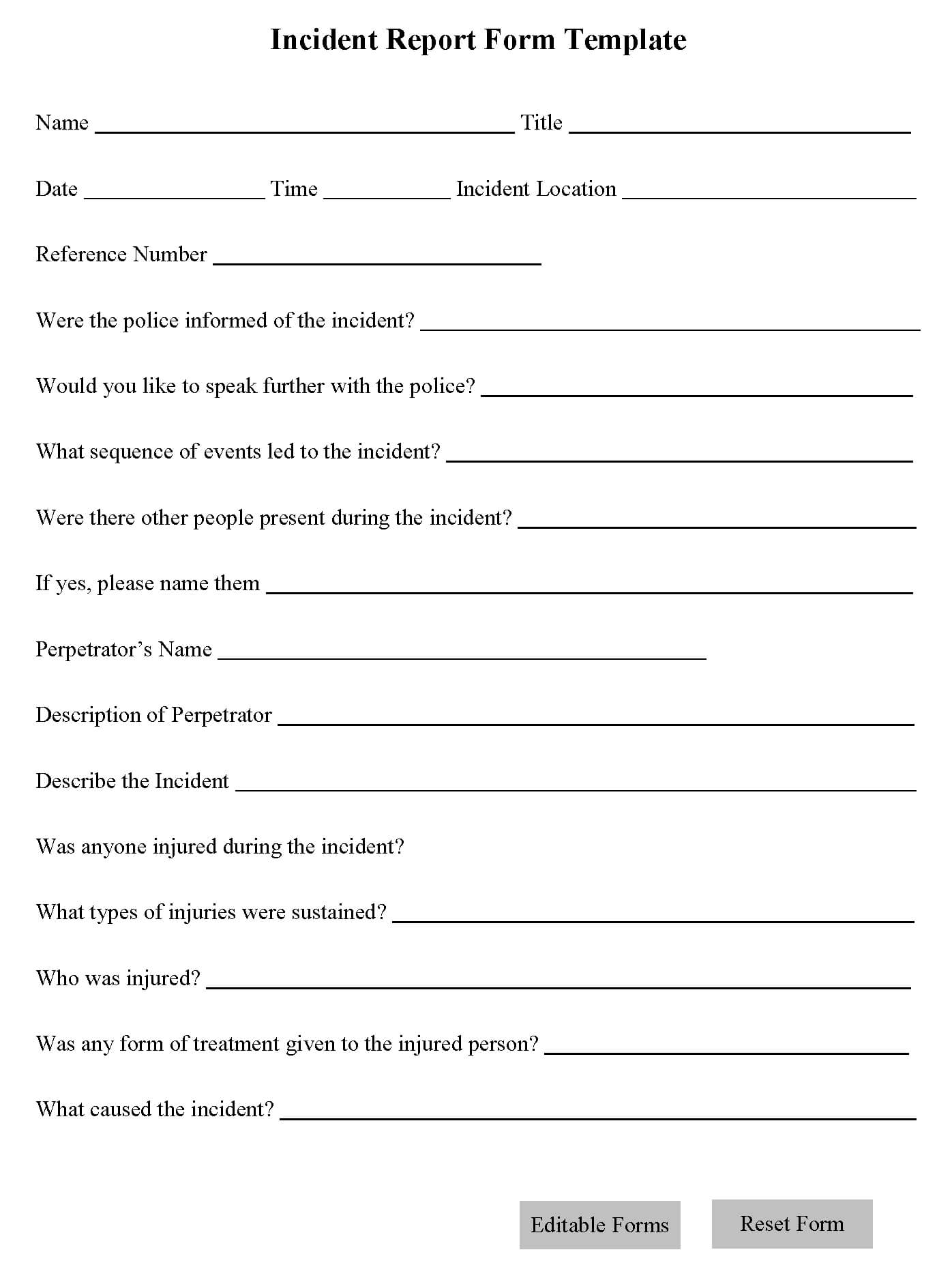 Incident Report Form Template | Editable Forms With Regard To Incident Report Form Template Word