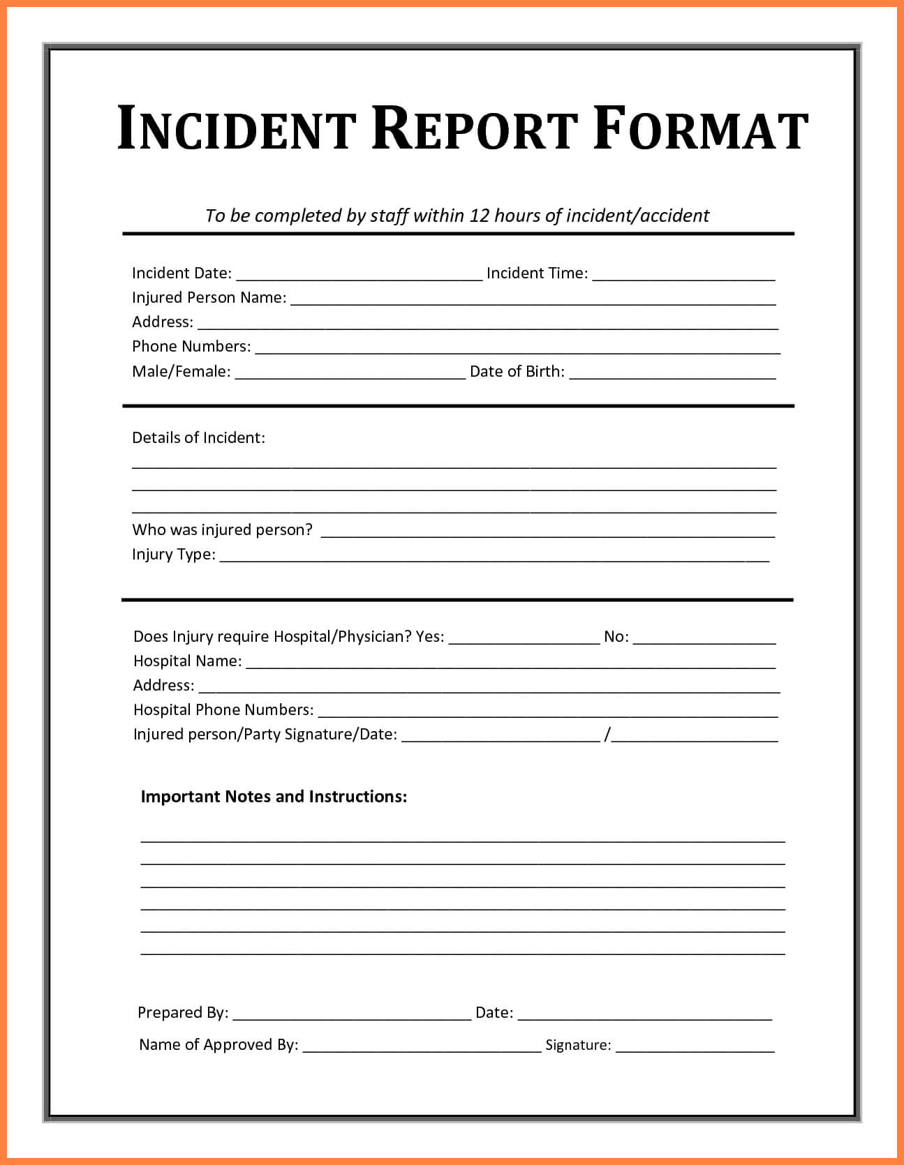 Incident Report Template - Free Incident Report Templates inside Office Incident Report Template