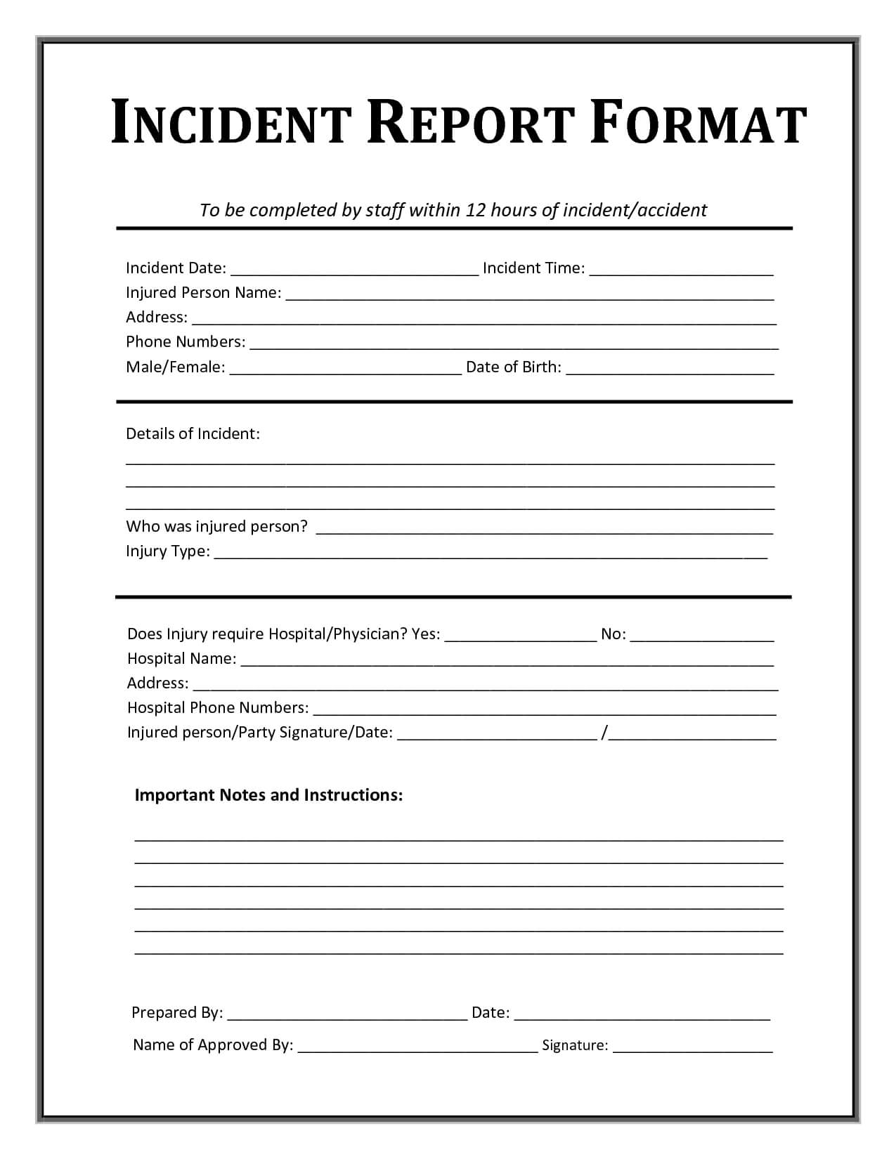 Incident Report Template | Incident Report, Incident Report In Injury Report Form Template
