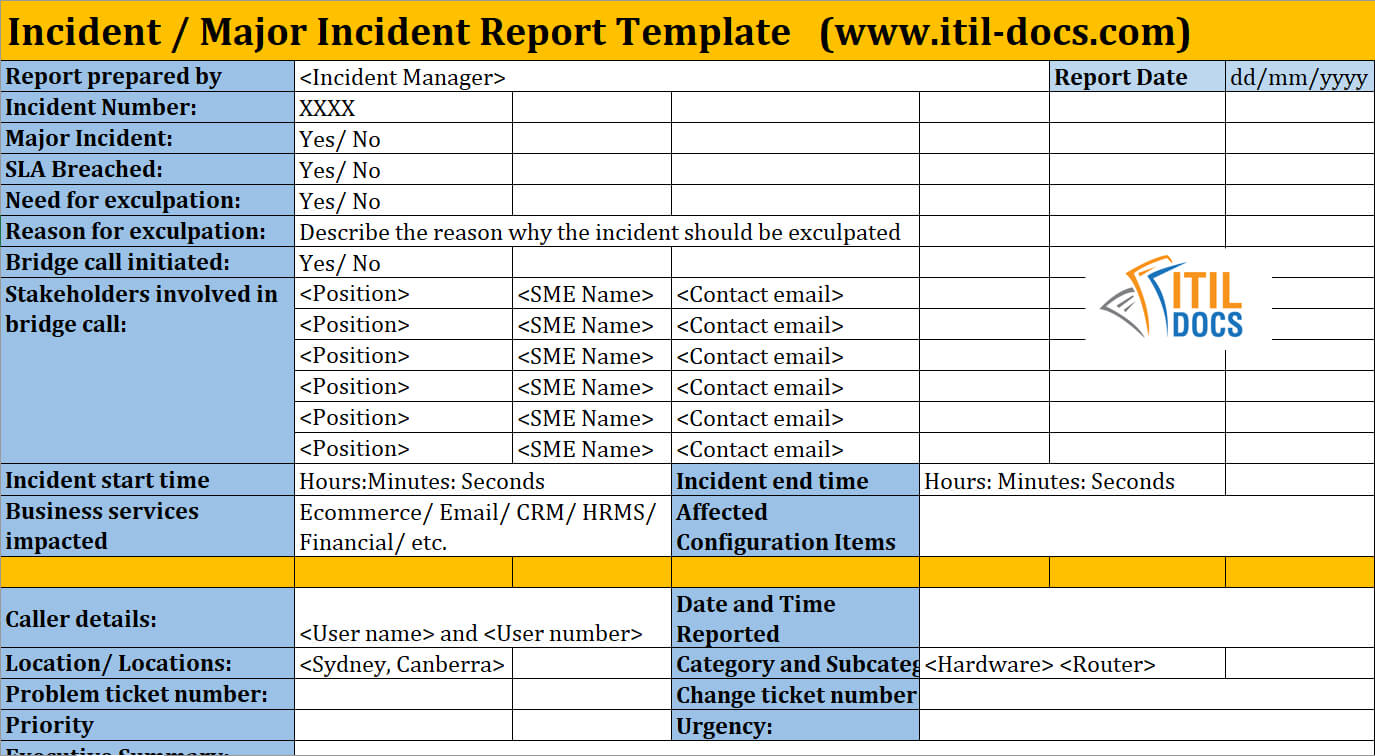 Incident Report Template | Major Incident Management – Itil Docs Throughout Incident Report Template Itil