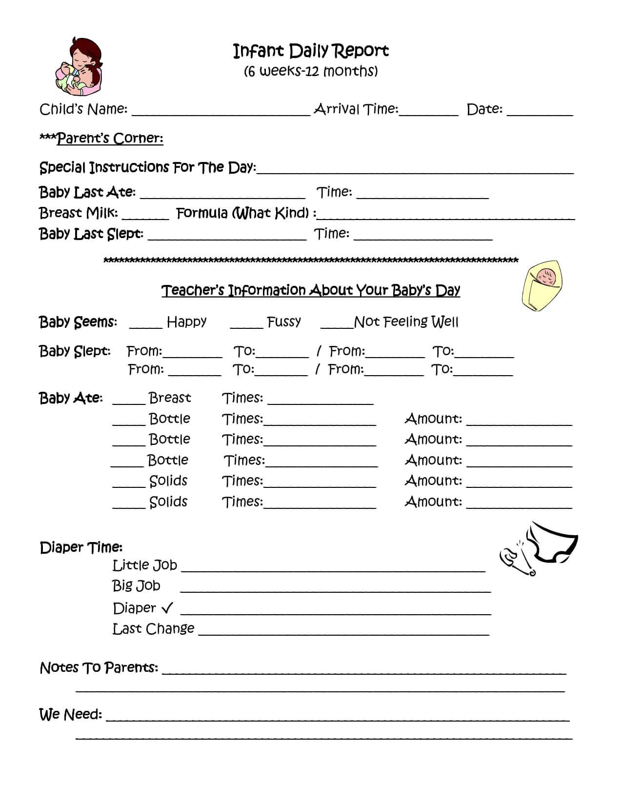 Infant Daily Report | Infant Daily Report, Daycare Forms Intended For Daycare Infant Daily Report Template