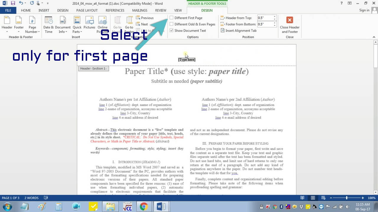 Insert Header Footer In Ms Word For Ieee Camera Ready Manuscript Pertaining To Ieee Template Word 2007