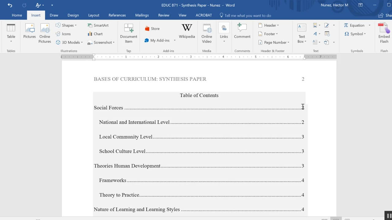Inserting A Table Of Contents In An Apa Formatted Paper With Microsoft Word Table Of Contents Template