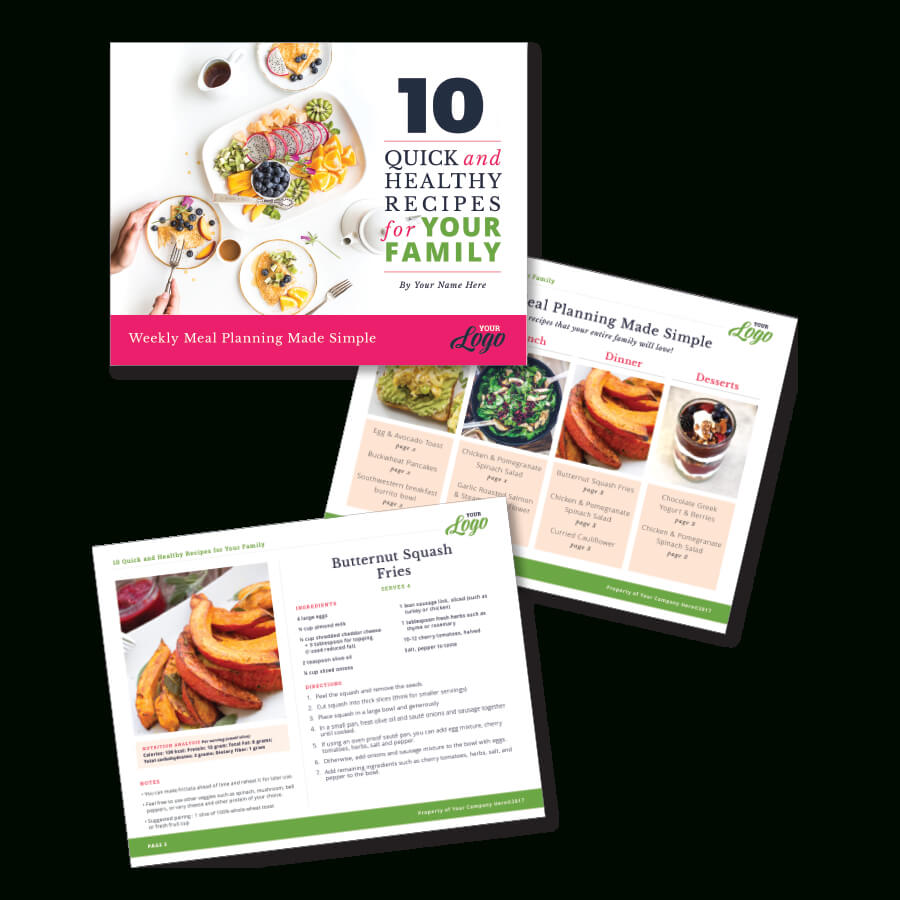 Instant Download, Indesign Template For A Freebie - Meal Planning And  Recipe Card Version 1 inside Recipe Card Design Template