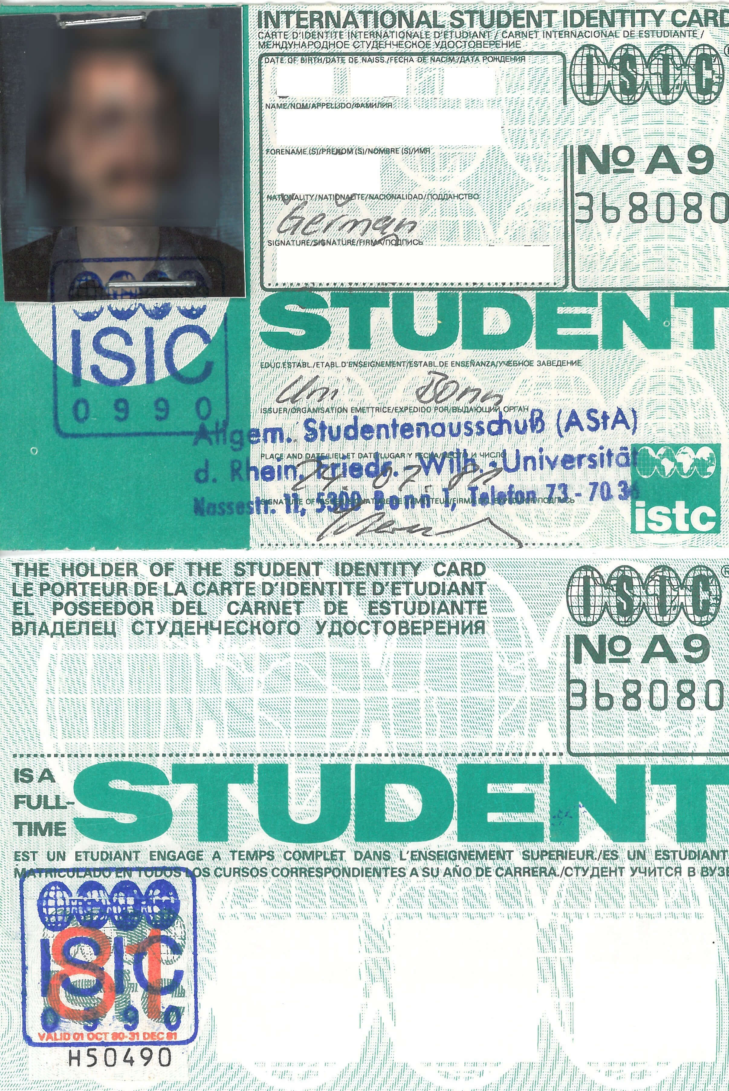 International Student Identity Card - Wikiwand pertaining to Isic Card Template