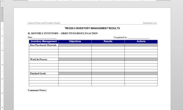 Inventory Management Report Template | Tm1020-2 with regard to It Management Report Template