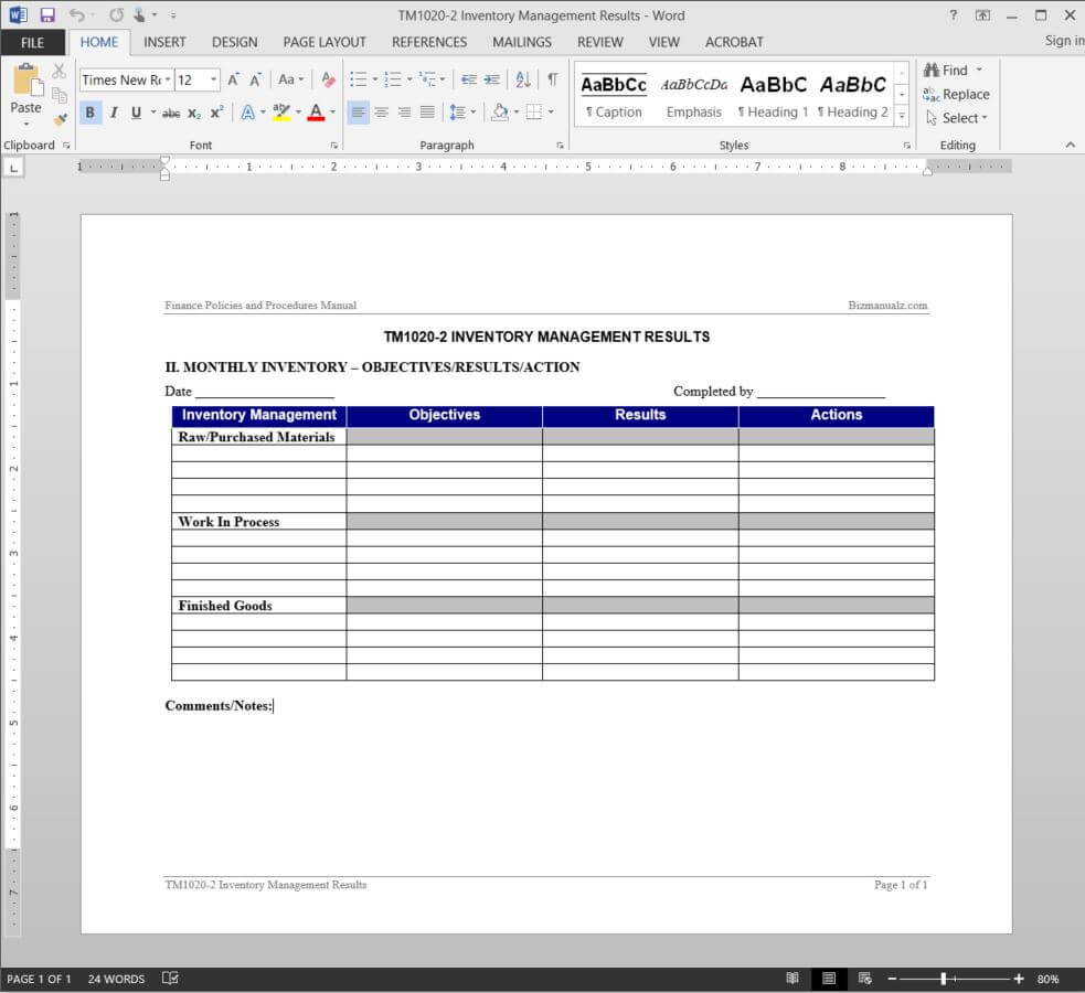 Inventory Management Report Template | Tm1020 2 With Regard To It Management Report Template