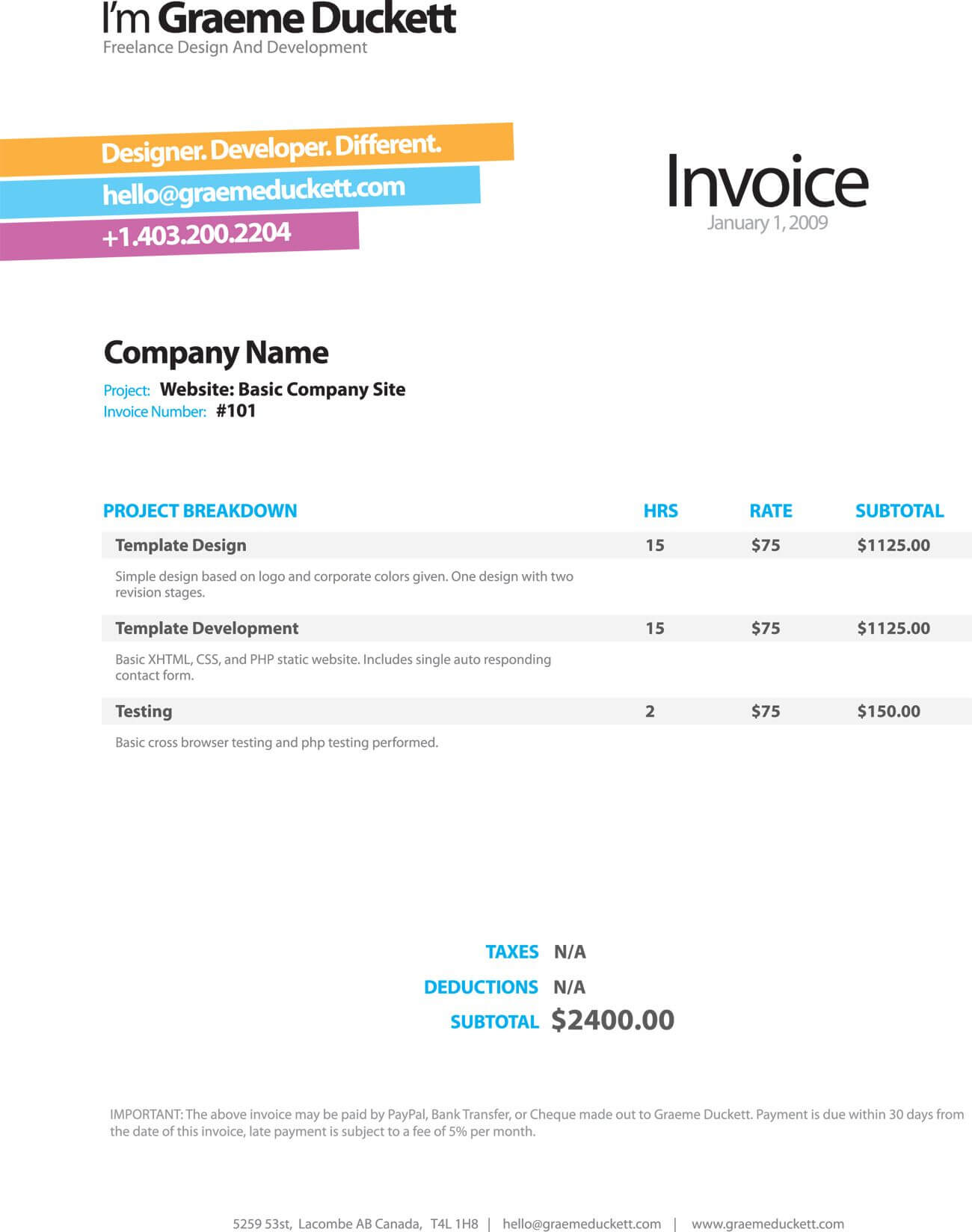 Invoice Like A Pro: Design Examples And Best Practices Pertaining To Web Design Invoice Template Word