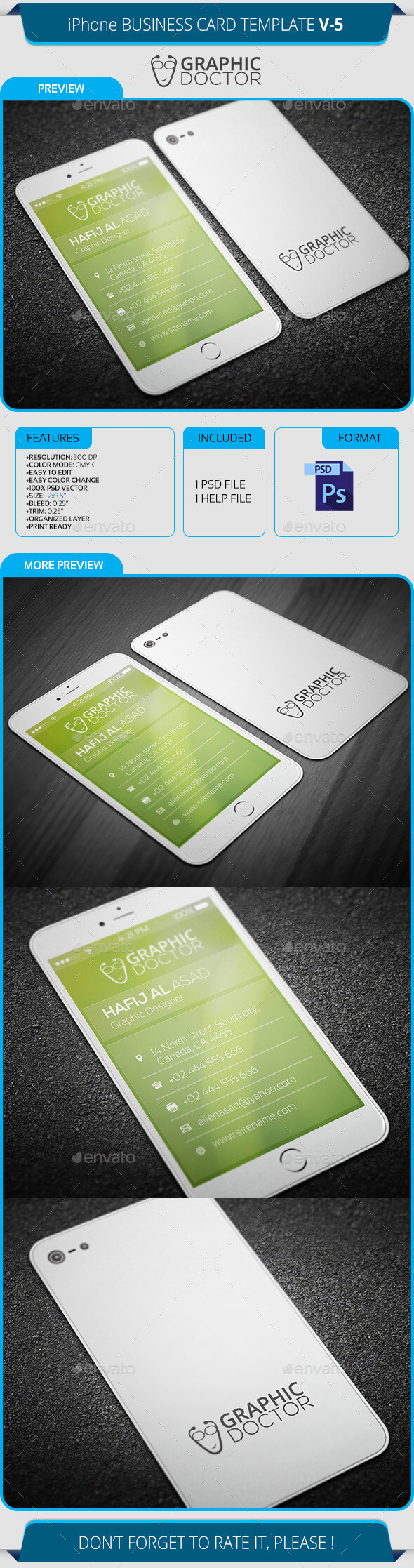 Iphone Business Card Template V-5 inside Iphone Business Card Template