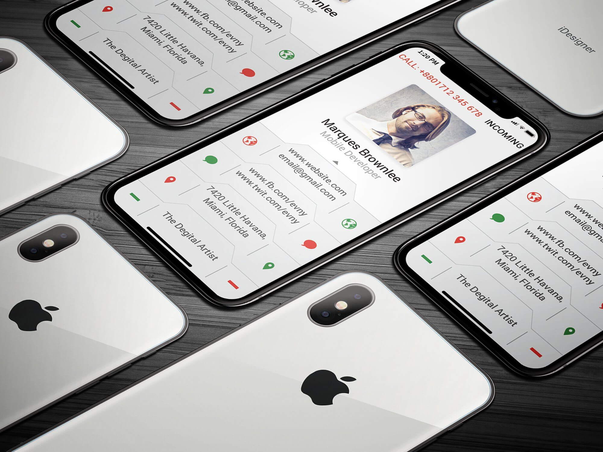 Iphone X Business Card #bleed#dpi#li#features | Business in Iphone Business Card Template