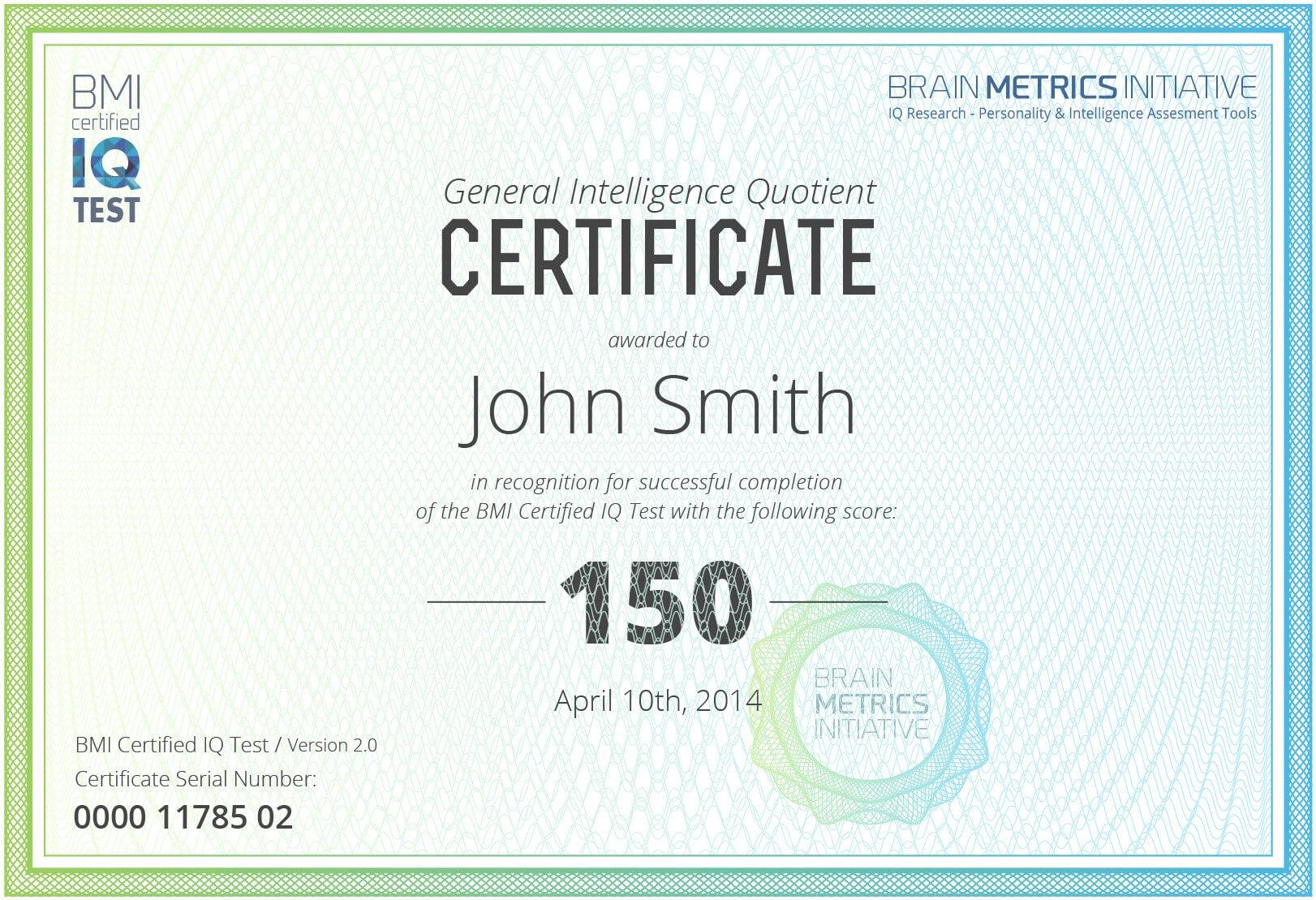 Iq Certificate Template - 10+ Professional Templates Ideas In Iq Certificate Template
