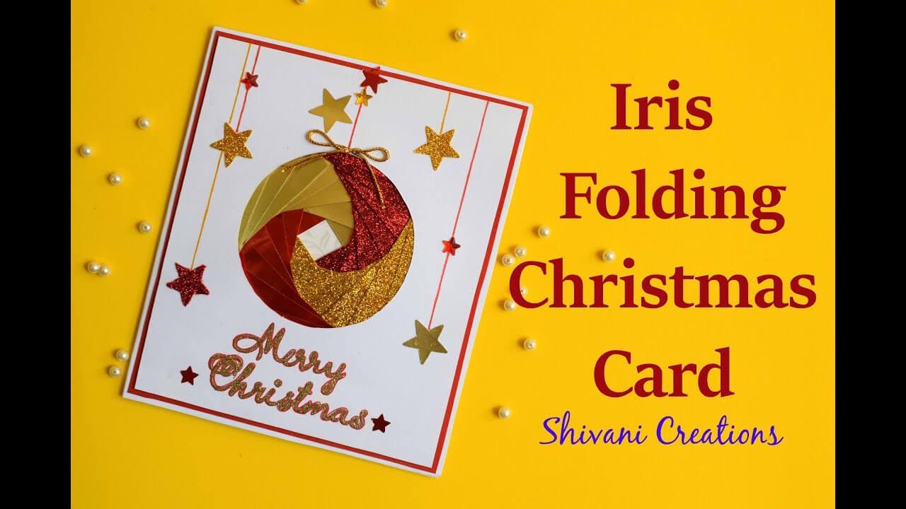 Iris Folding Christmas Ornament Card/ Handmade Greeting Card For Christmas with regard to Iris Folding Christmas Cards Templates