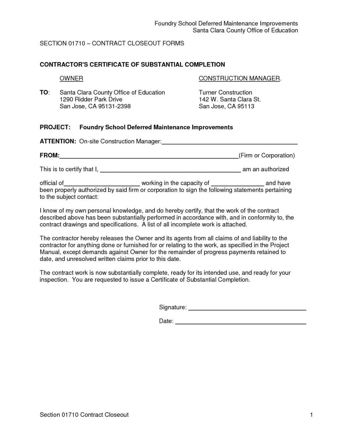 It Project Completion Certificate Sample New Construction With Certificate Of Completion Template Construction