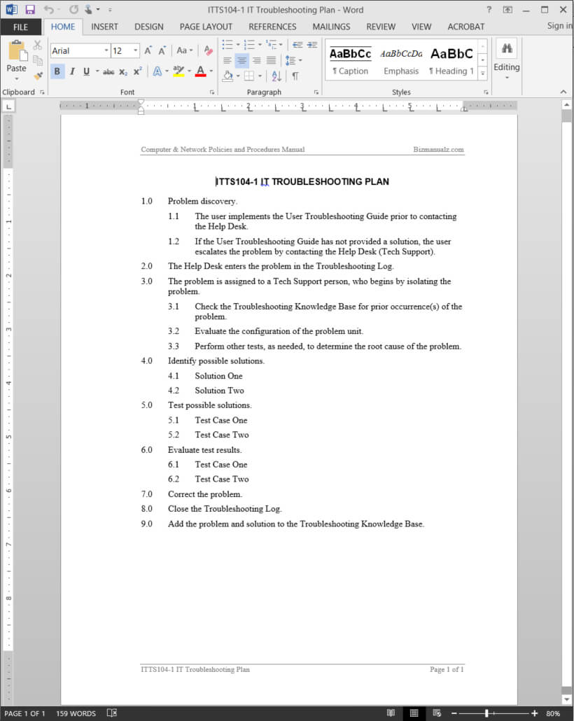 It Troubleshooting Plan Template   Itts104-1 regarding Software Problem Report Template