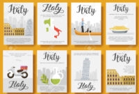 Italy Vector Brochure Cards Flat Set. Country Travel Template.. inside Country Brochure Template
