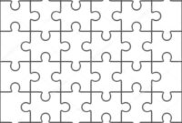 Jigsaw Puzzle Blank Template, 36 Pieces — Stock Vector within Blank Jigsaw Piece Template
