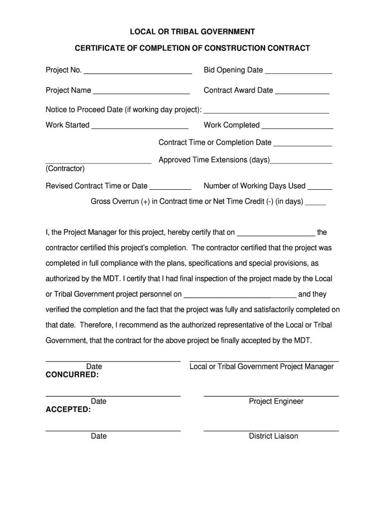 Job Completion Roof Certification Form - Fill Online within Construction Certificate Of Completion Template