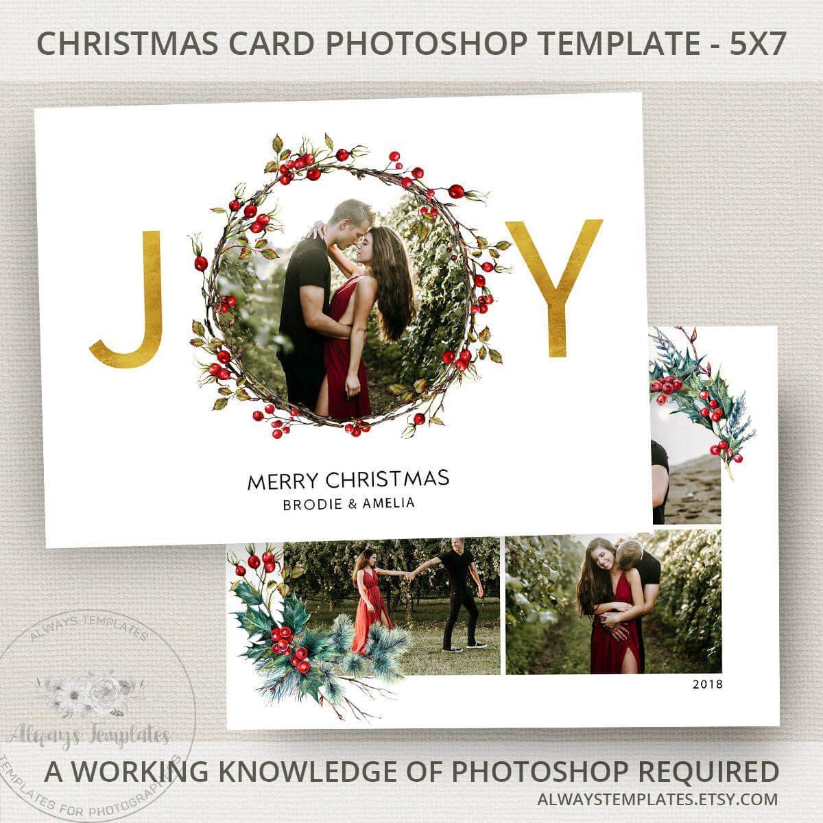 Joy Photo Christmas Card Template, Joy Christmas Card Intended For Christmas Photo Card Templates Photoshop