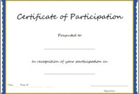 Key Components To Include On Certificate Of Participation Within Certificate Of Participation Template Doc