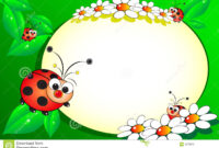 Kid Scrapbook With Blank Frame Message Stock Vector throughout Blank Ladybug Template