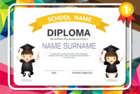 Kids Diploma Certificate Background Design Template. regarding Children's Certificate Template