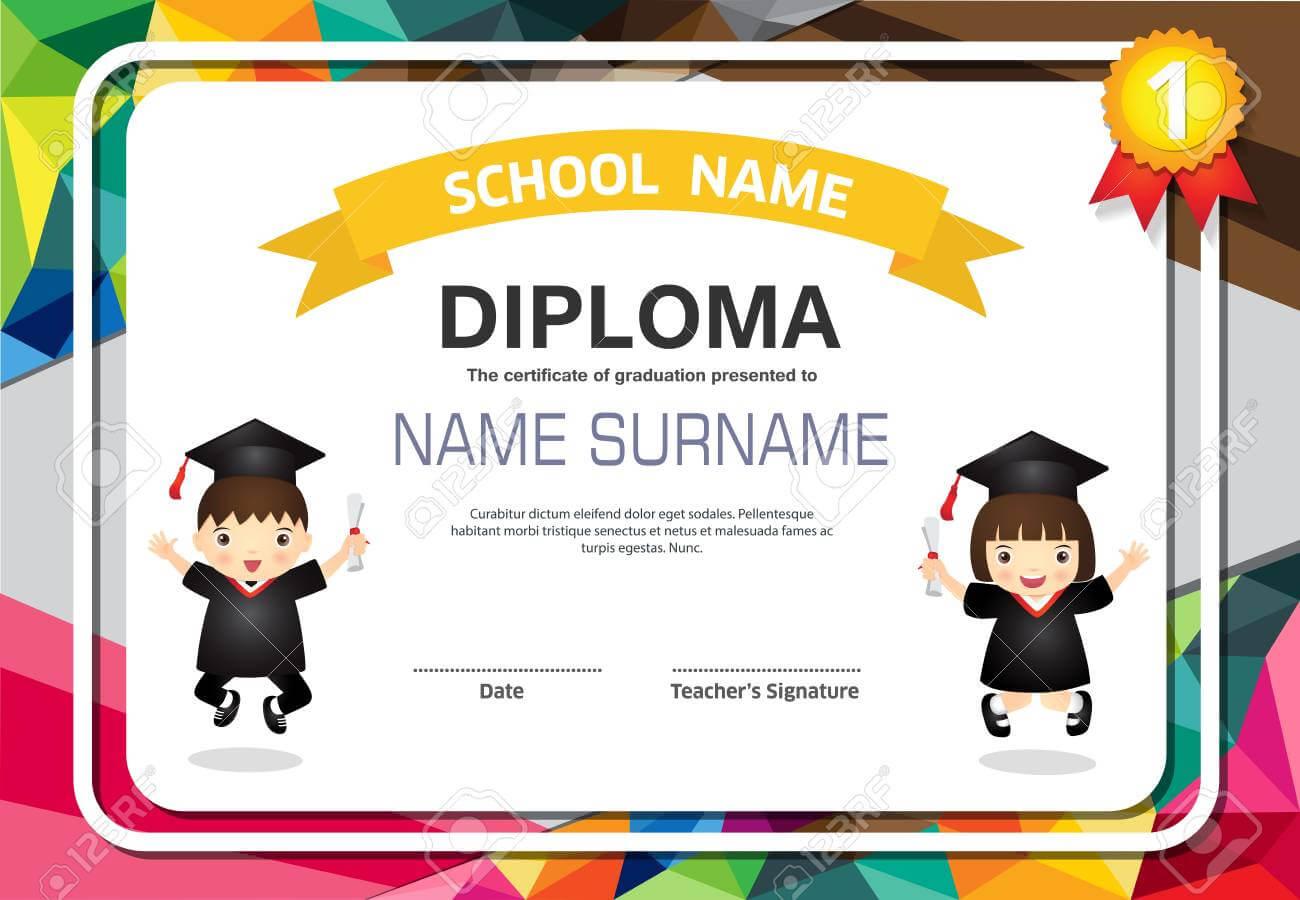 Kids Diploma Certificate Background Design Template. regarding Children's Certificate Template