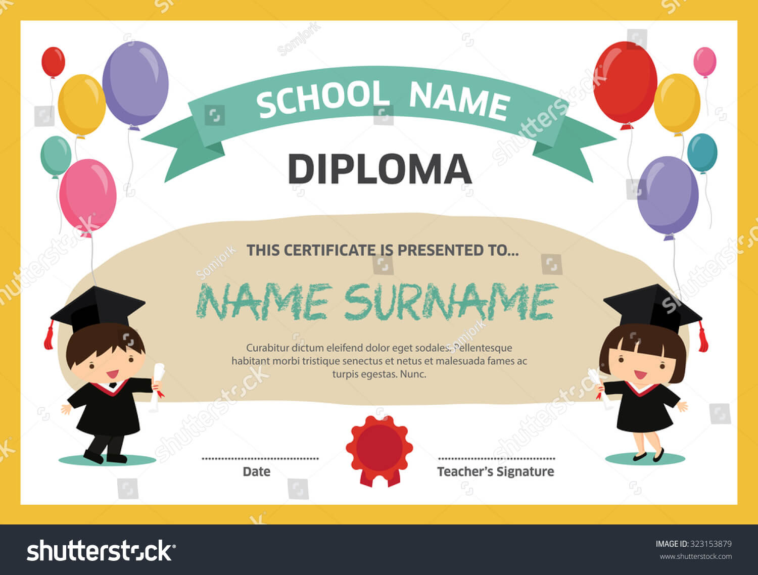 Kids Diploma Certificate Background Design Template Stock with Children's Certificate Template