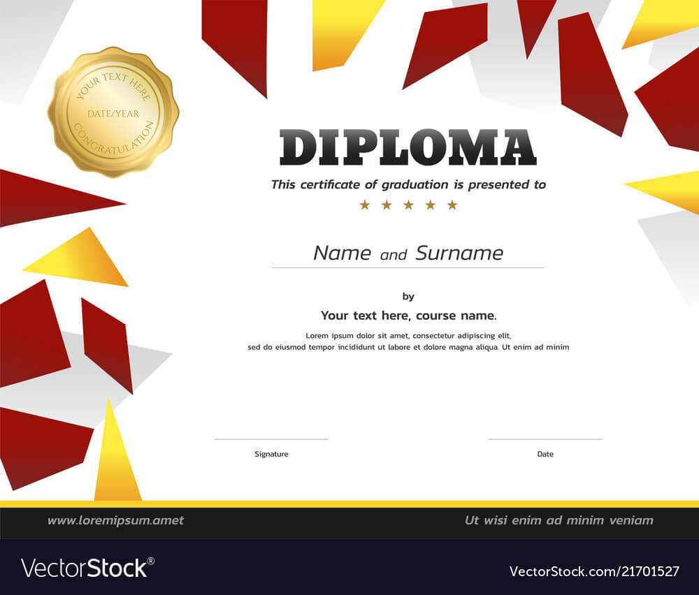 Kids Diploma Or Certificate Template With Gold within Free Softball Certificate Templates