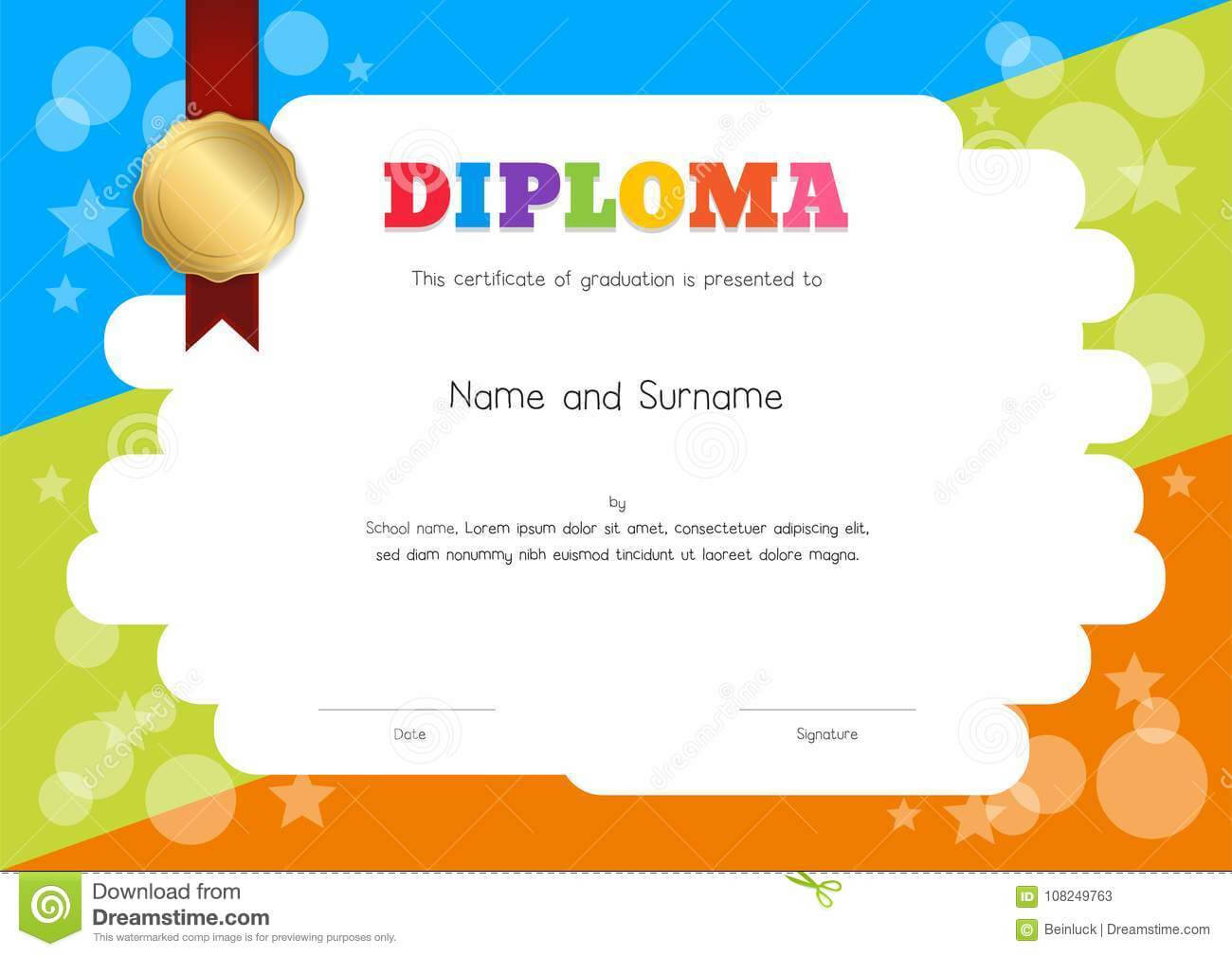 Kids Diploma Or Certificate Template With Hand Drawing with Children's Certificate Template