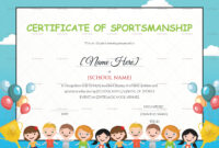Kids Sportsmanship Certificate Template for Children's Certificate Template