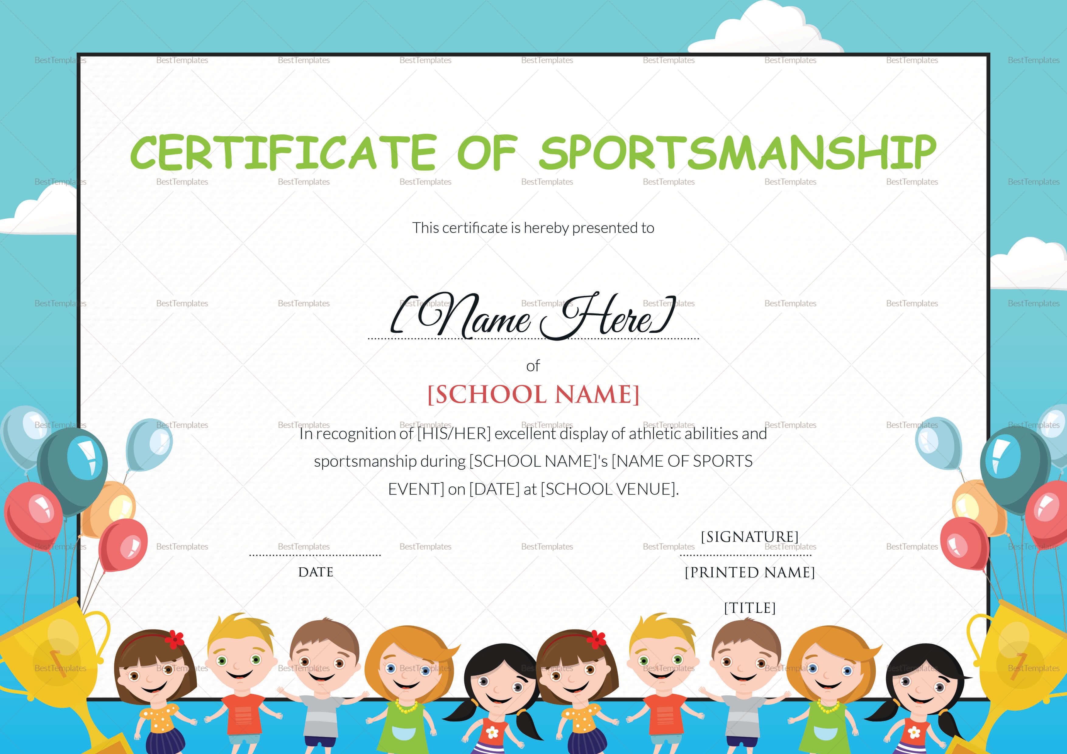 Kids Sportsmanship Certificate Template for Children's Certificate Template